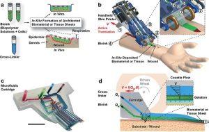 Elde taşınabilen ve deri üreten 3d bio yazıcı